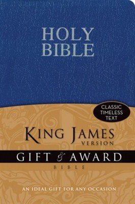 Angol Biblia King James Version Gift and Award Bible - Blue (leather look paperback / puhakötés)