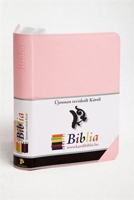 Biblia revideált Károli kicsi exkluzív (rózsaszín) (díszvarrott műbőr ezüst szegéllyel)