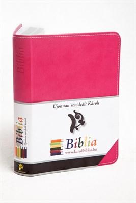 Biblia revideált Károli kicsi exkluzív (ciklámen) (díszvarrott műbőr ezüst szegéllyel)