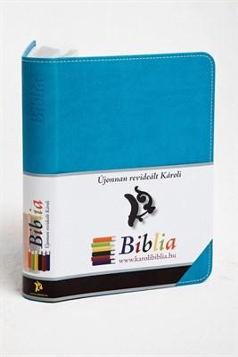 Biblia revideált Károli kicsi exkluzív (türkiz) (díszvarrott műbőr ezüst szegéllyel)