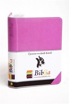 Biblia revideált Károli kicsi exkluzív (lila) (díszvarrott műbőr ezüst szegéllyel)