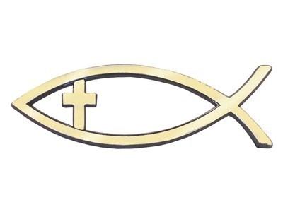 Autóembléma nagy arany hal kereszttel