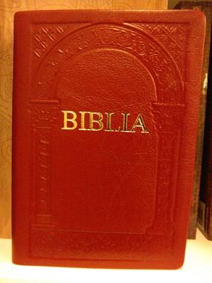 Biblia revideált új fordítás, közepes, bőrkötéssel, vaknyomással, aranyszegéllyel, bordó