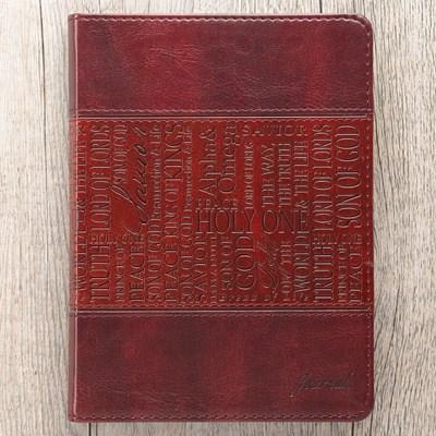 Exkluzív műbőr angol napló Jézus nevei (barna) (Lux Leather)