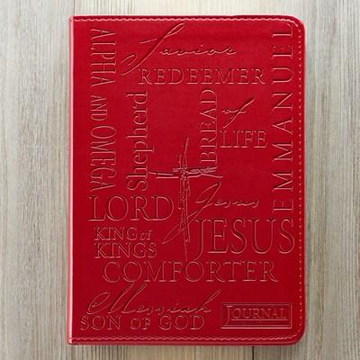 Exkluzív műbőr angol napló Jézus nevei (piros) (Lux Leather)