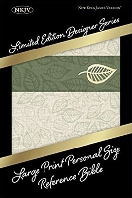 Angol Biblia New King James Version Large Print Personal Size Reference Sage Leaf Linen (Leathertouch)