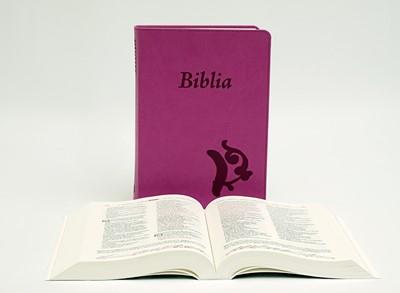 Biblia revideált Károli középméretű, lila (Műbőr)