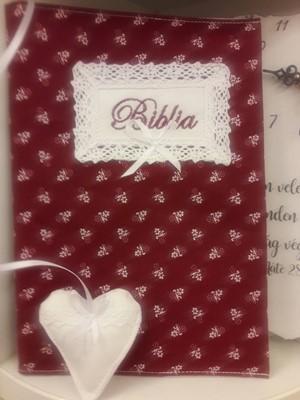 szövet borító EFO Bibliára bordó fehér virággal