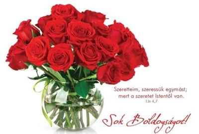 Képeslap-csomag Sok boldogságot! Piros rózsacsokor