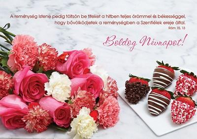 Névnapos képeslap-csomag Rózsacsokor és csokis eprek
