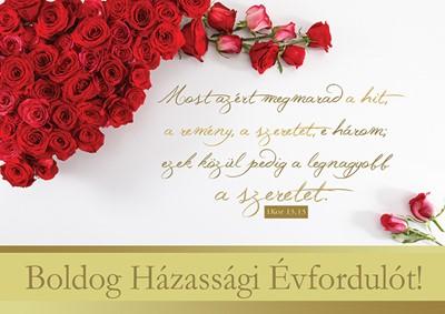 Képeslap-csomag Házassági évfordulóra Piros rózsacsokor