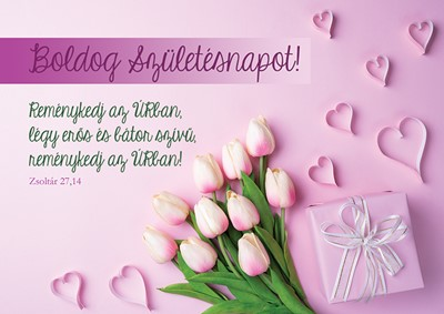 Születésnapos képeslap-csomag Rózsaszín tulipánok