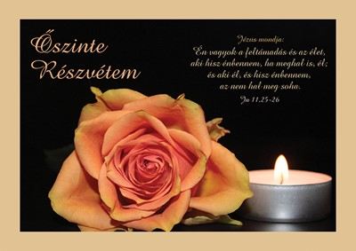 Részvétnyilvánító képeslap-csomag Rózsa és mécses