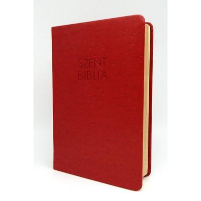 Biblia Károli fordítás közepes piros strucc mintás sima (Műbőr)