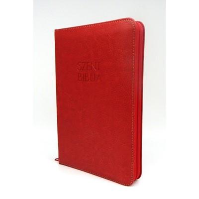 Biblia Károli fordítás közepes piros regiszterrel, cipzárral (Műbőr)