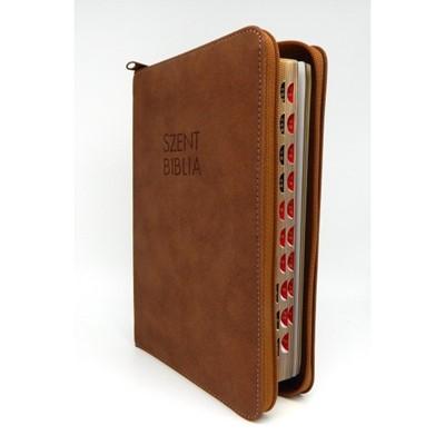 Biblia Károli fordítás közepes sötétbarna regiszterrel, cipzárral (Műbőr)