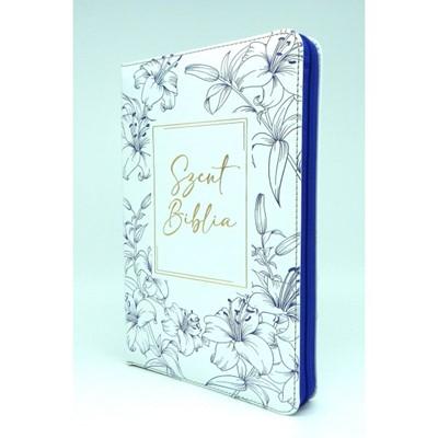 Biblia Károli fordítás közepes fehér, kék virágos, regiszteres, cipzáras (Műbőr)