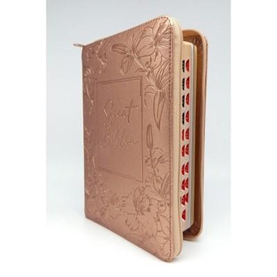 Biblia Károli fordítás közepes rosegold regiszteres cipzáras (Műbőr)