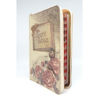 Biblia Károli fordítás közepes vintage virágos regiszteres cipzáras (Vászon)