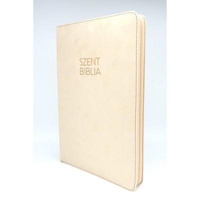 Biblia Károli nagy bézs bársony regiszteres, cipzáras (Bársony)