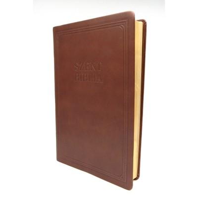 Biblia Károli nagy exkluzív barna bőr (Bőr)