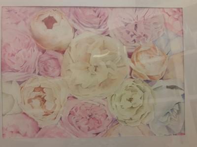 Akvarell festmény Pünkösdi rózsák