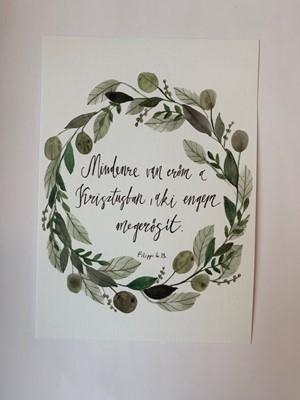 Miniposzter Mindenre van erőm a Krisztusban (olajág koszorú) (Kreatív papír)
