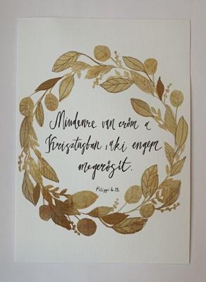 Miniposzter Mindenre van erőm a Krisztusban (aranyág koszorú) (Kreatív papír)