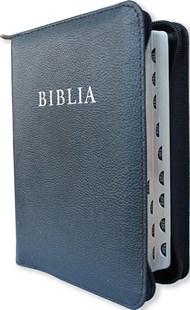 Biblia revideált új fordítás, közepes, bőrkötéses, cippzáras, regiszteres, ezüst élmetszéssel