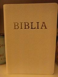 Biblia revideált új fordítás, közepes, bőrkötéssel, aranyszegéllyel, fehér