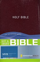 Angol Biblia New International Version Gift and Award Bible - Burgundy (Leather look / puhakötés)