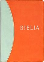Biblia revideált új fordítás, közepes, műbőr, narancs-kék