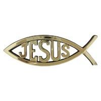 Autóembléma nagy arany hal Jézus felirattal