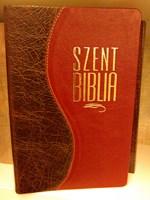 Biblia Károli fordítás, kis családi, bőrkötéssel, aranyszegéllyel, osztott barna-piros