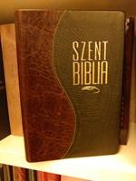 Biblia Károli fordítás, kis családi, bőrkötéssel, aranyszegéllyel, osztott barna-fekete