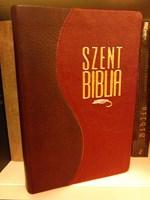 Biblia Károli fordítás, kis családi, bőrkötéssel, aranyszegéllyel, osztott bordó-piros