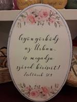 nagy ovális falitábla rózsák Gyönyörködj az Úrban (Fa)