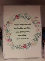 kis téglalap falitábla pasztell virágokkal Milyen nagy szeretetet... (Fa)