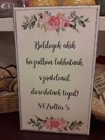 közepes téglalap falitábla rózsákkal Boldogok, akik házadban lakhatnak (Fa)
