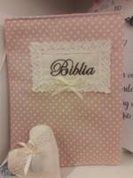 szövet borító közepes revideált új fordítású Bibliára drapp fehér pöttyös (Szövet)