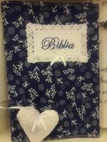 szövet borító nagyméretű revideált új fordítású Bibliára kék fehér virágos