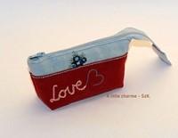 Szövet zsebkendőtartó Love bordó (Szövet)