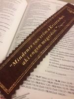 Aranyozott bőr könyvjelző Mindenre van erőm a Krisztusban (barna) (Bőr)