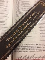 Aranyozott bőr könyvjelző Vessed az Úrra a te terhedet (sötétbarna) (Bőr)