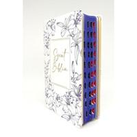 Biblia Károli fordítás közepes fehér, kék virágos regiszteres (Műbőr)