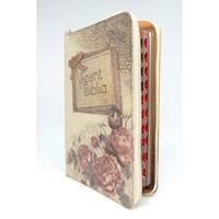 Biblia Károli fordítás közepes vintage virágos regiszteres cipzáras