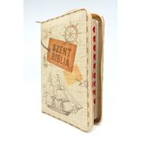 Biblia Károli fordítás közepes vintage hajós regiszteres cipzáras (Vászon)