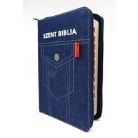 Biblia Károli fordítás közepes zsebes farmer regiszteres cipzáras (Vászon)