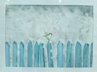 Akvarell festmény Cinke a havas kerítésen (Keretezett)